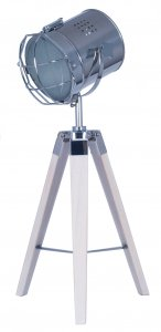Pacific Lifestyle Capstan White Wash Wood and Silver Metal Tripod Table Lamp