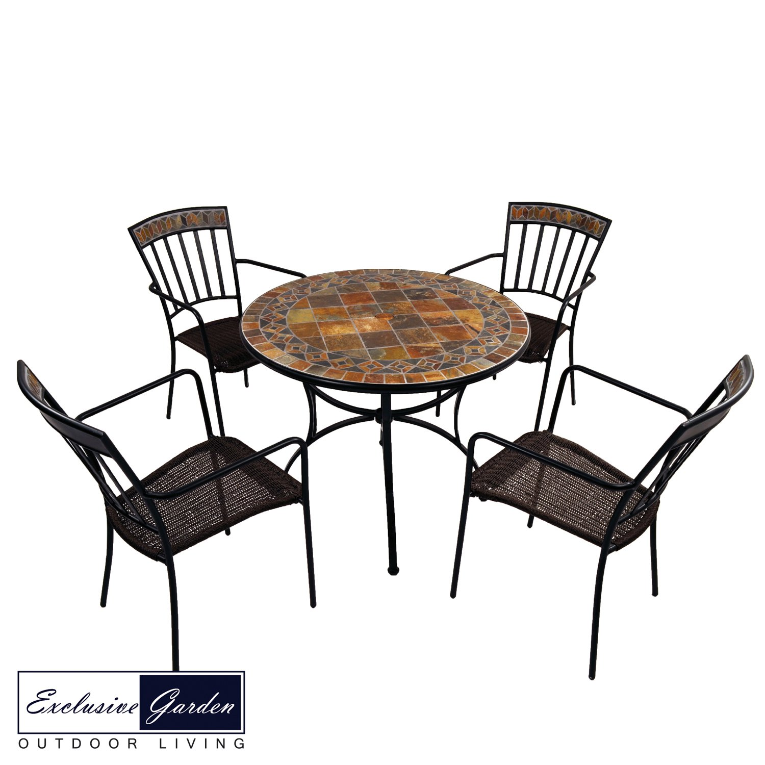 Exclusive Garden Belmont Patio Table 4 Kingswood Chairs Set At