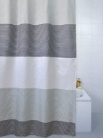 Blue Canyon Striped Shower Curtain Grey