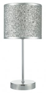 Dar Bistro Table Lamp Touch Polished Chrome With Silver Glitter Shade