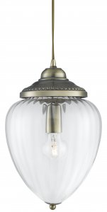Searchlight Antique Brass 1 Light Clear Ribbed Glass Lantern