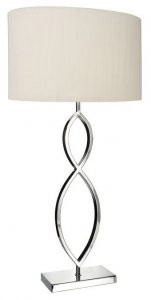 Dar Luigi 2 Hoop Table Lamp Polished Chrome With Cream Shade
