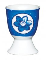KitchenCraft Porcelain Egg Cup Spotty Blue Flower Design