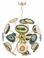 Dar Achates 9 Light Pendant Gold & Agate