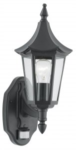 Searchlight Bel Aire Outdoor 1 Light Wall Light with Sensor Black