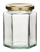 Home Made Hexagonal Jar with Twist-off Lid, 340ml