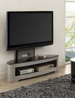 Jual Florence Grey Ash & Black Glass Curved Wood Cantilever TV Stand
