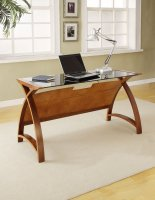Jual Helsinki Curve Walnut & Black Glass Curved Wood 1300mm Laptop Worktable
