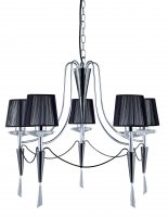 Searchlight Duchess 5 Light Chrome and Black Pendant with Crystal Scones and Droplets