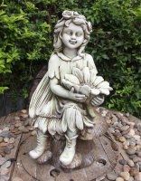 Solstice Sculptures Flower Fairy Sitting 56cm Tinted Stone Effect