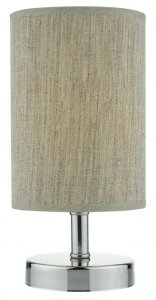 Dar Eryn Touch Table Lamp In Polished Chrome With Cream Shade