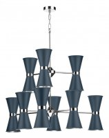 David Hunt Hyde 18 Light Pendant Chrome with Smoke Blue Metal Shade