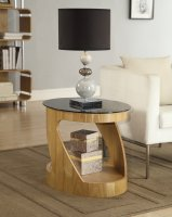 Jual San Marino Oak & Black Glass Curved Wood Oval Lamp Table