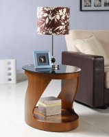 Jual San Marino Walnut & Black Glass Curved Wood Oval Lamp Table