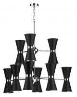 David Hunt Hyde 18 Light Pendant Chrome with Black Metal Shade