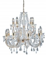 Searchlight Marie Therese 12 Light Polished Brass Chandelier with Crystal Droplets