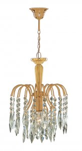 Searchlight Lounge 1 Light Gold Plated Pendant with Crystal Trims