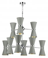 David Hunt Hyde 18 Light Pendant Chrome with Powder Grey Metal Shade