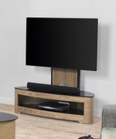 Jual Florence Oak & Black Glass Curved Wood Cantilever TV Stand