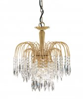 Searchlight Waterfall 3 Light Gold Plated Pendant with Crystal Trimmings