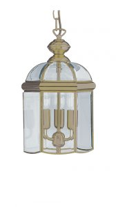 Searchlight 3 Light Antique Brass Bevelled Glass Dome Pendant