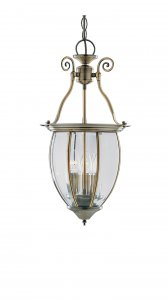 Searchlight Lantern 3 Light Antique Brass and Bowed Glass Pendant