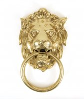 Polished Brass Lion Head Knocker