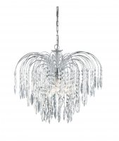 Searchlight Waterfall 5 Light Chrome Pendant with Shower Crystals