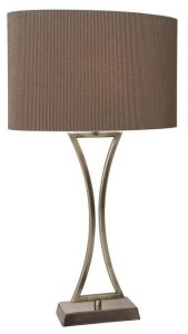 Dar Oporto Wavy Table Lamp Antique Brass With Brown Oval Shade