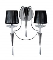 Searchlight Duchess 2 Light Chrome and Black Wall Light with Crystal Scones and Droplets