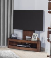 Jual Florence Walnut & Black Glass Curved Wood Cantilever TV Stand