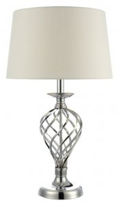 Dar Iffley Large Table Lamp Polished Chrome Complete with Ivory Shade