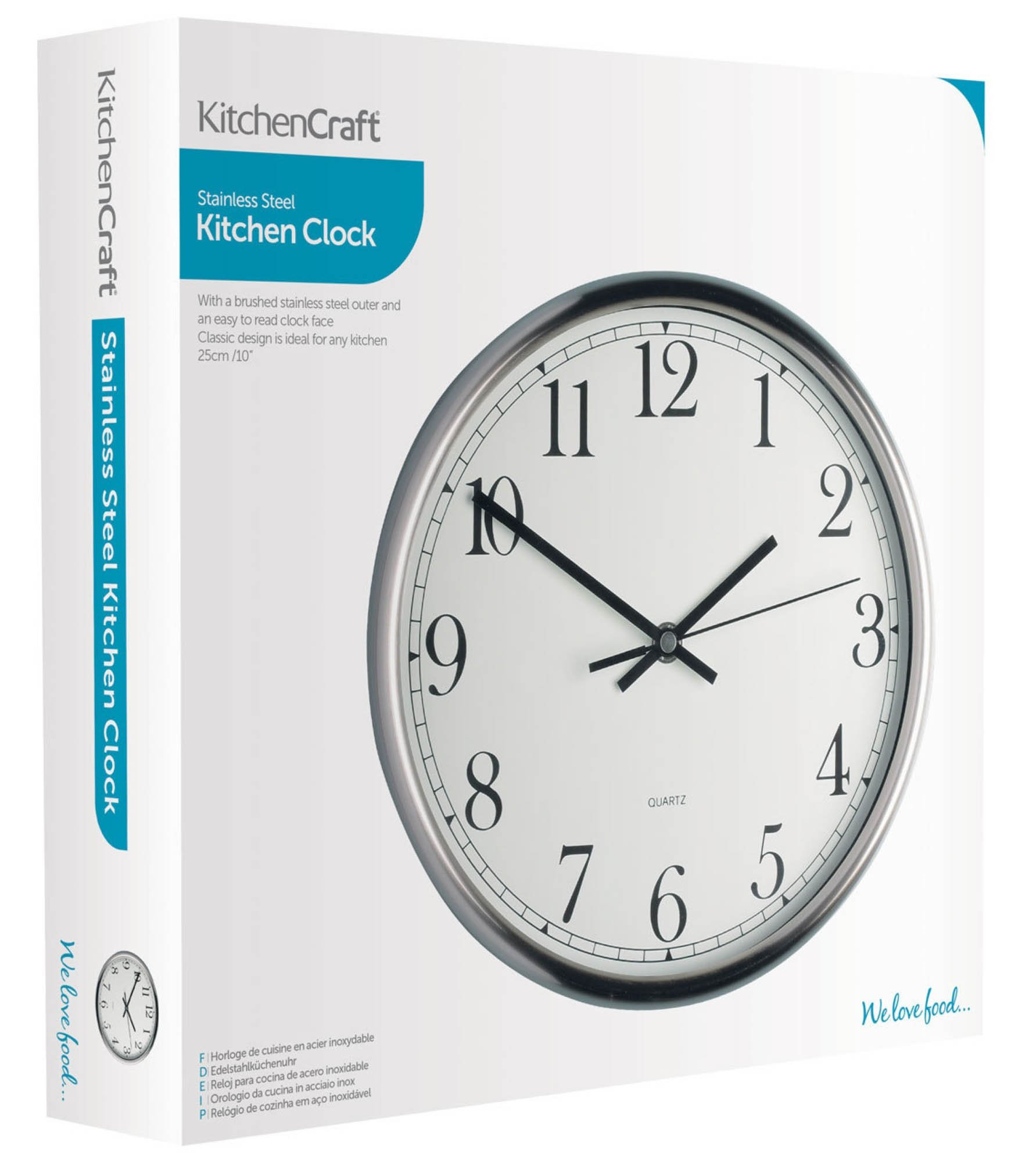 Kitchencraft Stainless Steel Wall Clock 29cm At Barnitts Online
