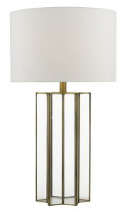Dar Osuna Table Lamp Natural Metal Glass Complete with Shade