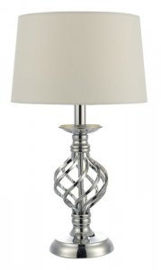 Dar Iffley Touch TL Polished Chrome Twist Cage Base Complete With Ivory Shade