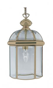 Searchlight 1 Light Antique Brass Bevelled Glass Dome Pendant