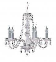 Searchlight Hale Georgian 5 Light Chrome Chandelier with Crystal Droplets