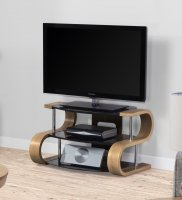 Jual Florence Oak & Black Glass 850mm Curved Wood TV Stand - Up To 42""
