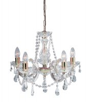 Searchlight Marie Therese 5 Light Polished Brass Chandelier with Crystal Droplets