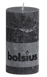 Bolsius Pillar Candle Anthracite 13cm x 6.8cm