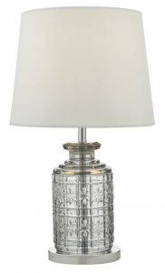 Dar Evita Table Lamp Touch Clear Polished Chrome Complete with Shade