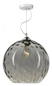 Dar Aulax 1 Light Pendant Silver Smoked Glass With Dimple Effect