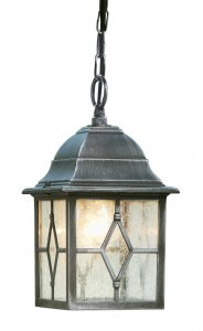 Searchlight Genoa Outdoor Black / Silver Pendant - Lead Glass