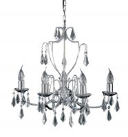 Searchlight Martina 5 Light Chrome Chandelier with Crystal Glass
