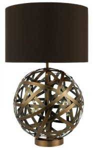 Dar Voyage Table Lamp Woven Antique Copper Ball With Matching Linen Shade
