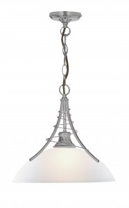 Searchlight Linea 1 Light Satin Silver Pendant with Acid Glass