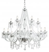 Dar Katie 18 Light Chandelier Dual Mount Acrylic Glass