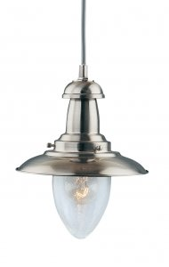 Searchlight Baby Fisherman Satin Silver Lantern with Seeded Glass