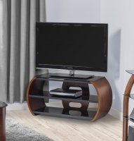 "Jual Florence Walnut & Black Glass Curved Wood TV Stand - For 50"" Plus"