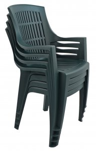 Trabella Parma Stack Chair Green Pack of 4